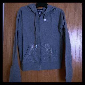 PINK Victoria's Secret Tops - VS PINK grey zip up hoodie w/crystals; size Medium
